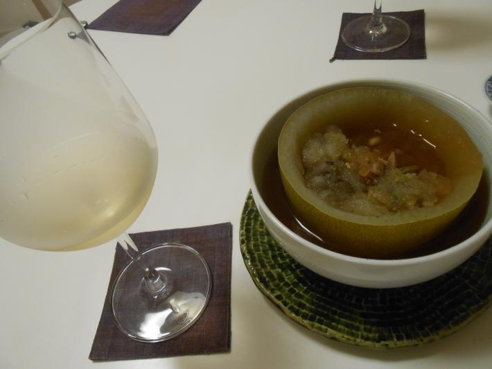 機山ワインの白を冬瓜に合わせました。_a0095931_08323147.jpg