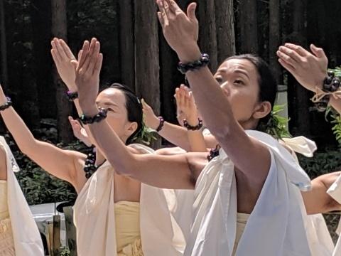 フラダンスで森の神に祈りをささげてくれました。_a0088577_17041194.jpg