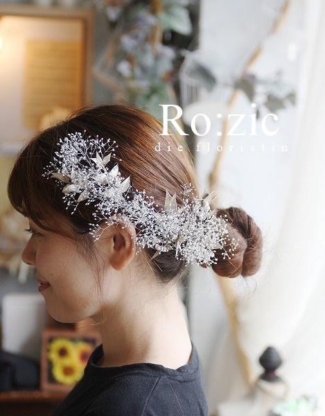 2019.10.5 ティアラみたいなお花のヘッドドレス/プリザーブドフラワー/かすみそうとリーフ_b0120777_19051575.jpg