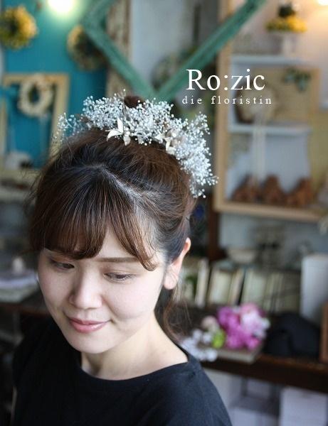 2019.10.5 ティアラみたいなお花のヘッドドレス/プリザーブドフラワー/かすみそうとリーフ_b0120777_19124975.jpg
