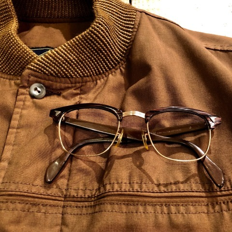 """1950-60s \"""" American Optical \"""" -INFLUENTIAL- BROWN WOOD Vintage CELL & 12K GOLD FRAME ._d0172088_23130783.jpg"""