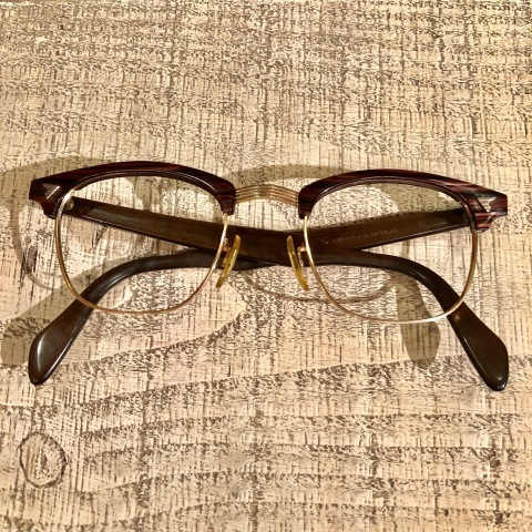 """1950-60s \"""" American Optical \"""" -INFLUENTIAL- BROWN WOOD Vintage CELL & 12K GOLD FRAME ._d0172088_23162361.jpg"""