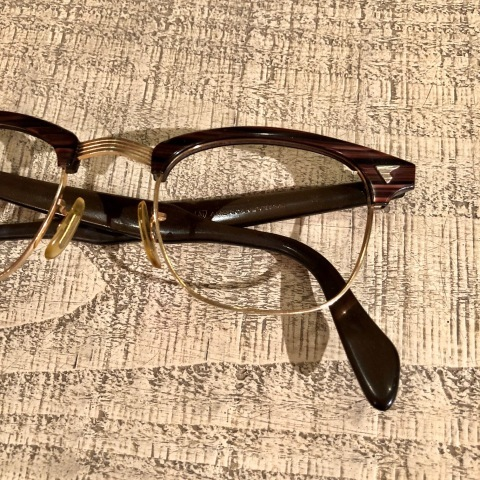 """1950-60s \"""" American Optical \"""" -INFLUENTIAL- BROWN WOOD Vintage CELL & 12K GOLD FRAME ._d0172088_23195055.jpg"""