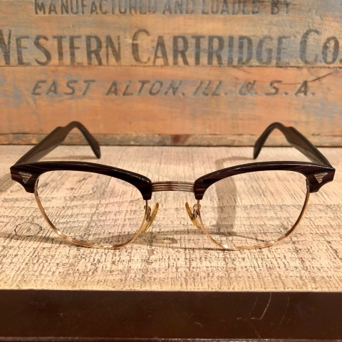 """1950-60s \"""" American Optical \"""" -INFLUENTIAL- BROWN WOOD Vintage CELL & 12K GOLD FRAME ._d0172088_23283835.jpg"""
