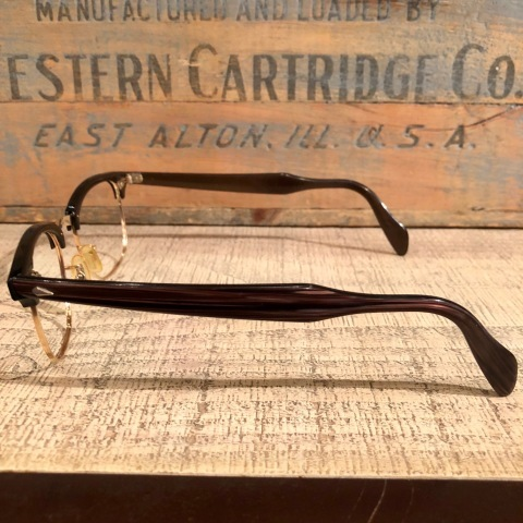 """1950-60s \"""" American Optical \"""" -INFLUENTIAL- BROWN WOOD Vintage CELL & 12K GOLD FRAME ._d0172088_23300020.jpg"""