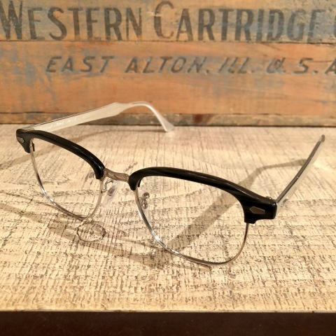 "1950s "" BAUSCH & LOMB - B & L - \"" - Charcoal WOOD × 12K White GOLD - VINTAGE SIRMONT BROW FRAME ._d0172088_17100739.jpg"