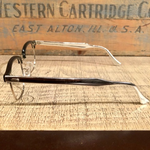 "1950s "" BAUSCH & LOMB - B & L - \"" - Charcoal WOOD × 12K White GOLD - VINTAGE SIRMONT BROW FRAME ._d0172088_17104656.jpg"