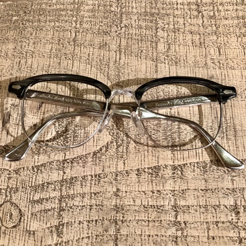 "1950s "" BAUSCH & LOMB - B & L - \"" - Charcoal WOOD × 12K White GOLD - VINTAGE SIRMONT BROW FRAME ._d0172088_18225598.jpg"