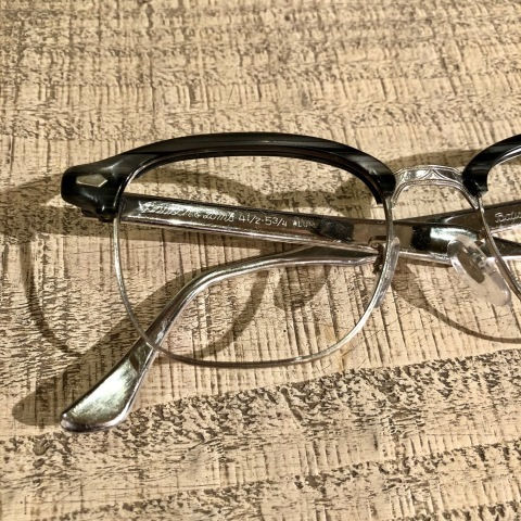 "1950s "" BAUSCH & LOMB - B & L - \"" - Charcoal WOOD × 12K White GOLD - VINTAGE SIRMONT BROW FRAME ._d0172088_18235613.jpg"