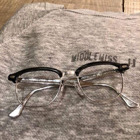 "1950s "" BAUSCH & LOMB - B & L - \"" - Charcoal WOOD × 12K White GOLD - VINTAGE SIRMONT BROW FRAME ._d0172088_18244686.jpg"