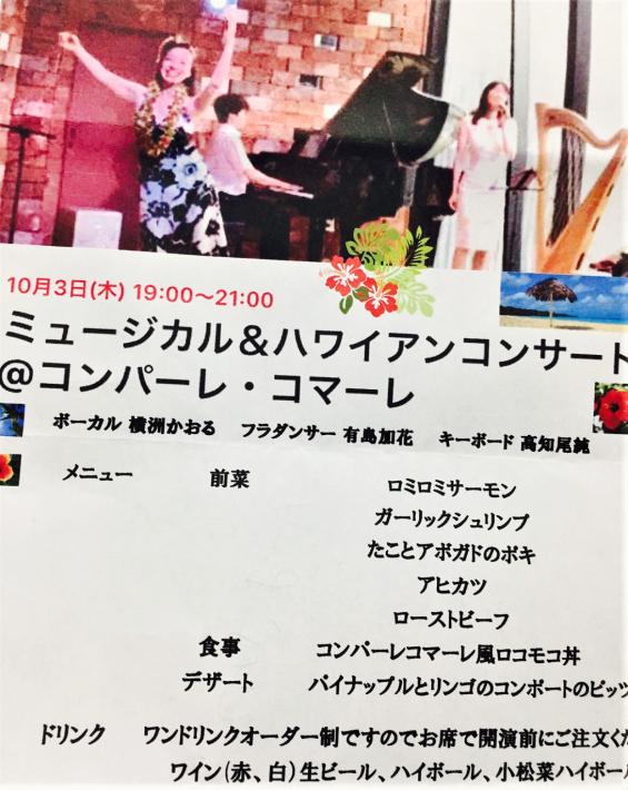 【コンサート日記】ハワイアンを歌うミュージカル歌手とミュージカルソングを踊るフラダンサーを陽気なピアニストが繋ぐ名もなきコラボ♪_e0397681_16065824.jpg