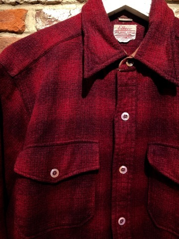 "1940-50s "" Elbeco \"" 100% virgin WOOL VINTAGE - OMBRE CHECK - マチ付き WORK SHIRTS ._d0172088_16284609.jpg"