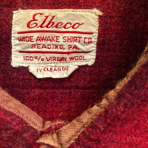 "1940-50s "" Elbeco \"" 100% virgin WOOL VINTAGE - OMBRE CHECK - マチ付き WORK SHIRTS ._d0172088_19161498.jpg"