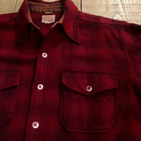 "1940-50s "" Elbeco \"" 100% virgin WOOL VINTAGE - OMBRE CHECK - マチ付き WORK SHIRTS ._d0172088_19180995.jpg"
