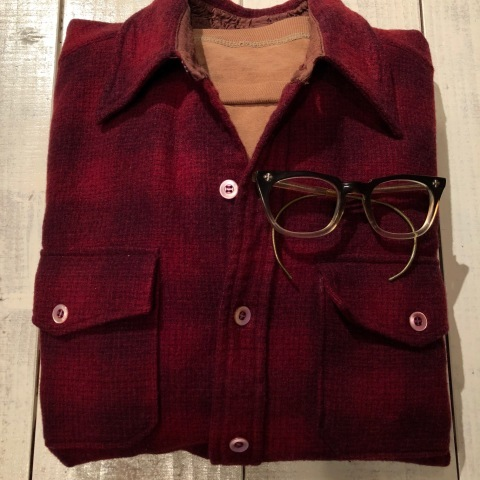 "1940-50s "" Elbeco \"" 100% virgin WOOL VINTAGE - OMBRE CHECK - マチ付き WORK SHIRTS ._d0172088_21025258.jpg"