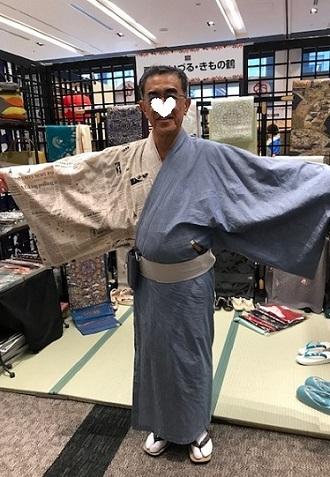 きものサローネ・洋服地でご自分で作られた男性着物。_f0181251_18405733.jpg