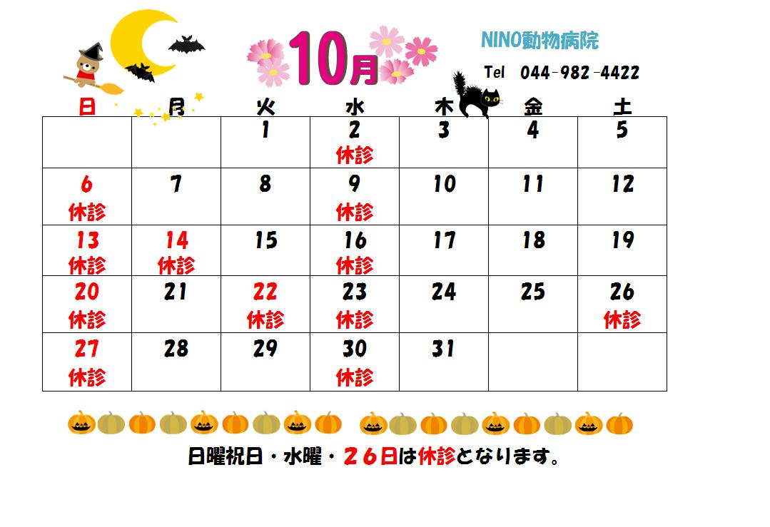 10月の診療日のお知らせ☆_e0288670_17444657.png