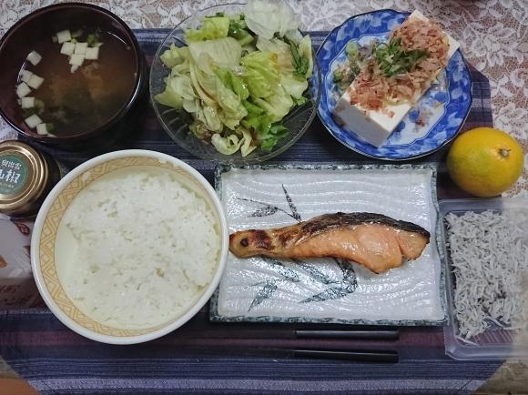10/18 塩時鮭新米定食@自宅_b0042308_07082989.jpg