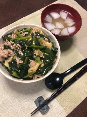豚肉と小松菜のまかない丼_d0235108_20395828.jpg