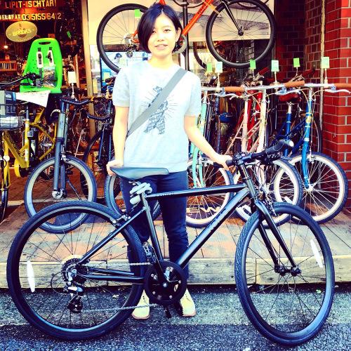 ☆本日のバイシクルガール☆ 自転車女子 自転車ガール ミニベロ クロスバイク ライトウェイ トーキョーバイク シュウイン ラレー ブルーノ おしゃれ自転車 マリン ターン シェファード_b0212032_15153623.jpeg