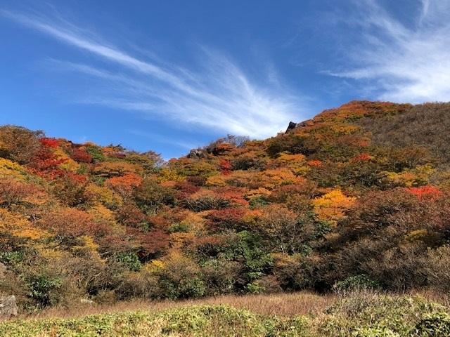紅葉真っ盛りの三俣山_e0164643_11091596.jpg