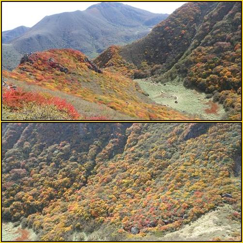紅葉真っ盛りの三俣山_e0164643_11100039.jpg