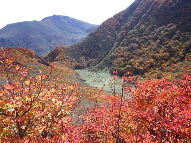 紅葉真っ盛りの三俣山_e0164643_11100728.jpg