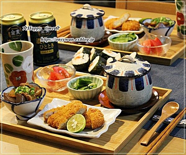 お稲荷さん弁当と今夜はとんかつ♪_f0348032_18255196.jpg