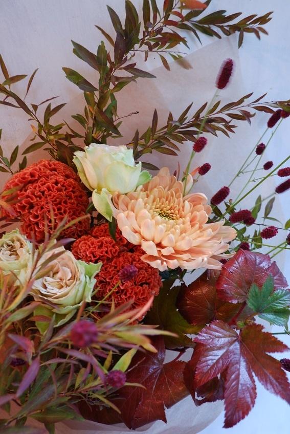 オークリーフ(菊アリョンカサーモンの花束)_f0049672_12544911.jpg