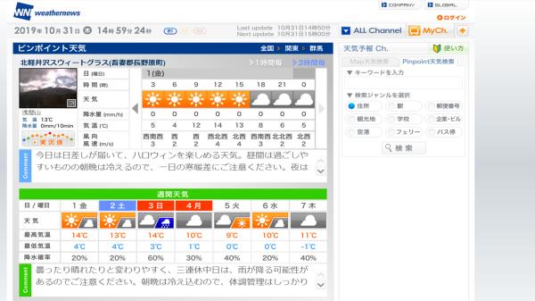 今週末の天気と気温(2019年10月31日)_b0174425_15012393.png