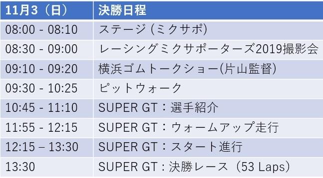 【SUPER GT 2019 Round8 もてぎ】スケジュール_e0379343_11440175.jpg