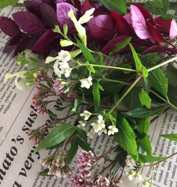 mini bouquet    小庭の植物をカットして母へ_a0165160_22400655.jpg