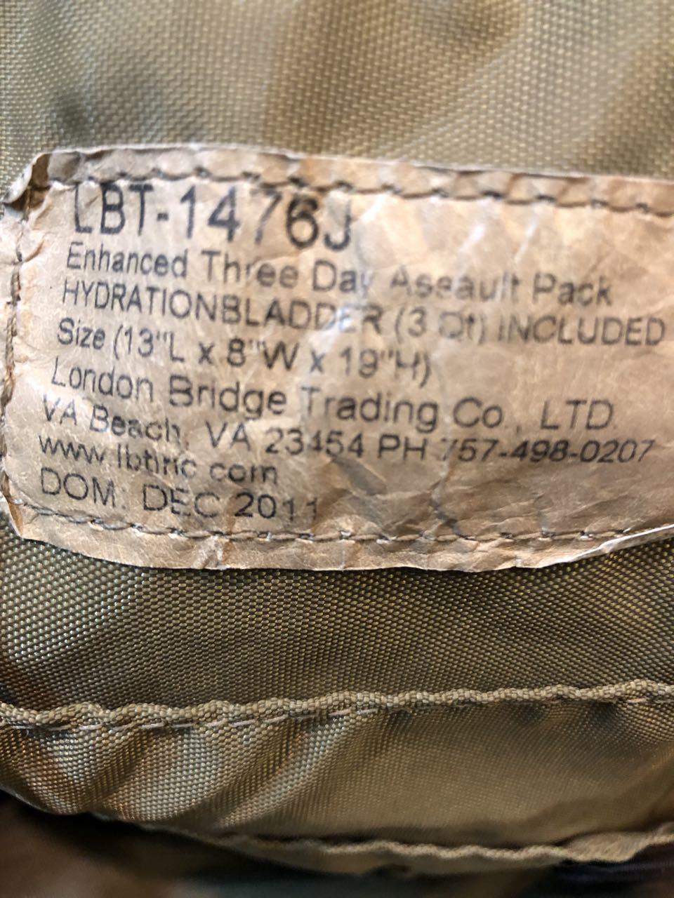 2011年製 U.S AIR FORCE ! U.S.A.F USED LBT-1476J Enhanced Three Day Assault  Pack!_c0144020_14435280.jpg