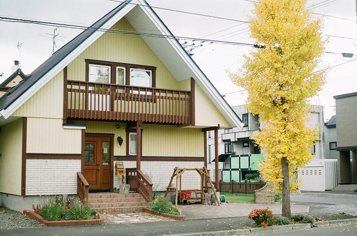 カエデの落葉と頑張るイチョウのある三角屋根の家_c0182775_178325.jpg