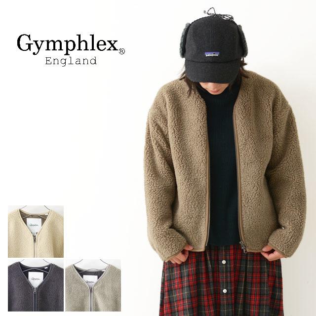 Gymphlex [ジムフレックス]W ボア ノーカラージャケット [J-1379PL] フリースジャケット・ノーカラー・モコモコフリース・綺麗目LADY\'S_f0051306_15391180.jpg