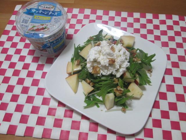 簡単でもオシャレに見える? 水菜と林檎のサラダ ~カッテージチーズ添え~_d0361028_22121383.jpg