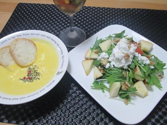 簡単でもオシャレに見える? 水菜と林檎のサラダ ~カッテージチーズ添え~_d0361028_22121667.jpg