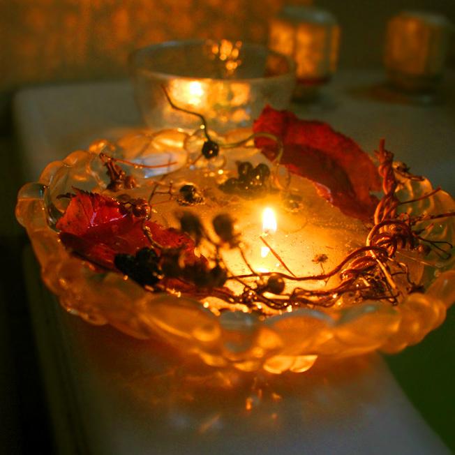 秋の実と紅葉を野草キャンドルに_a0329820_17054975.jpg