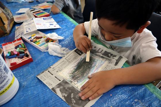 やと子ども美術教室 ~ 秋色で遊ぼう ~ _e0222340_1510514.jpg