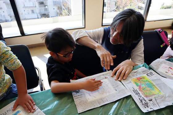 やと子ども美術教室 ~ 秋色で遊ぼう ~ _e0222340_1591426.jpg