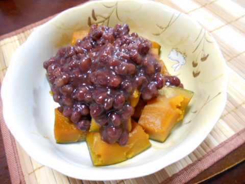 かぼちゃのゆで小豆かけ&柿の白和え_f0019498_20471357.jpg