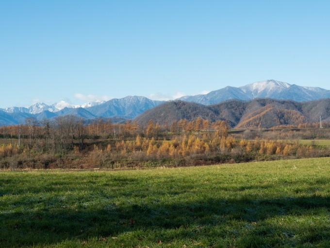 冠雪の日高山脈と晩秋色になった畑のパッチワーク_f0276498_14300731.jpg