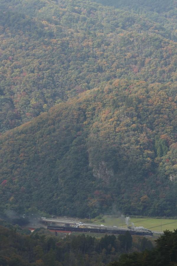 紅葉の長門峡…日差しと煙が残念 - 2019年晩秋・山口線 -_b0190710_18240460.jpg