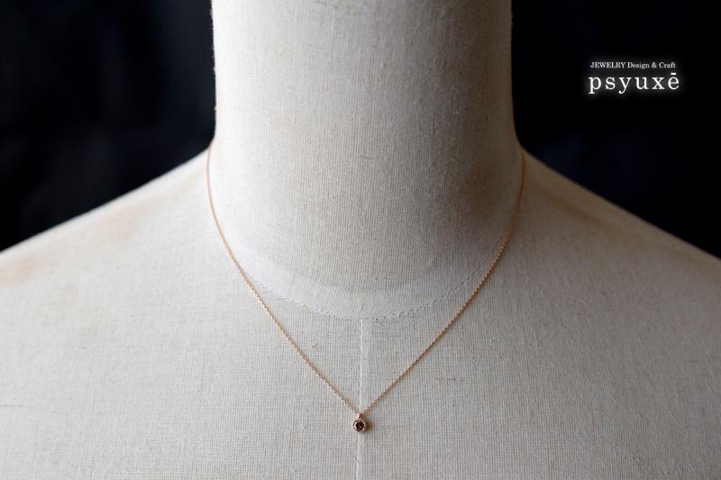 ブラウンダイアモンド・ミルグレイン・K10ピンクゴールド・ネックレス・1点もの_e0131432_09521945.jpg