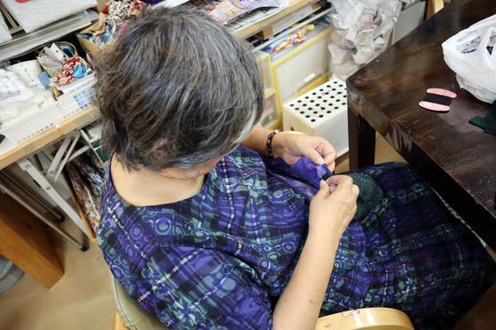 裁縫 & 刺繍 ~ 青海波(せいかいは)模様の巾着バッグ ~_e0222340_15234072.jpg