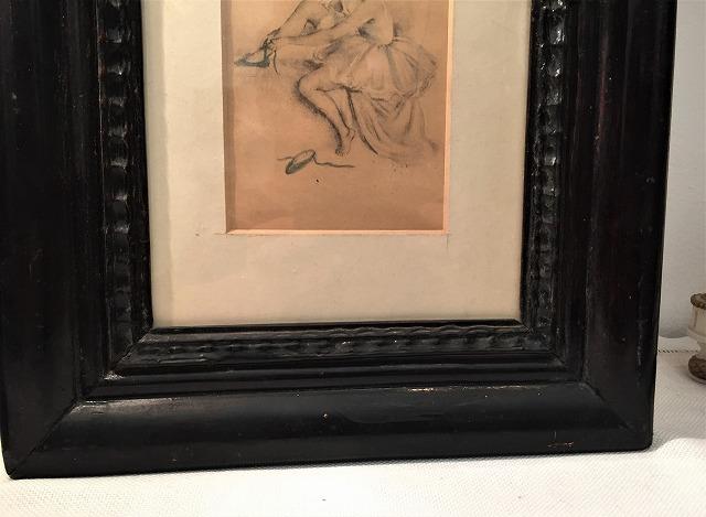 リトグラフ「バレリーナ」入り木製黒額957_f0112550_06460903.jpg