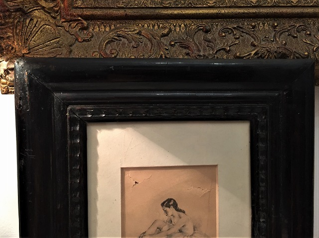 リトグラフ「バレリーナ」入り木製黒額957_f0112550_06460956.jpg