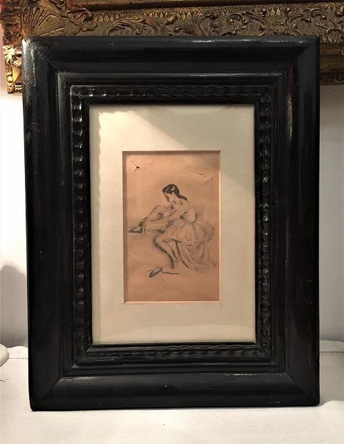 リトグラフ「バレリーナ」入り木製黒額957_f0112550_06460980.jpg