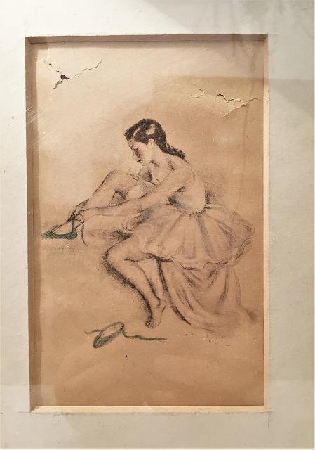 リトグラフ「バレリーナ」入り木製黒額957_f0112550_06460989.jpg