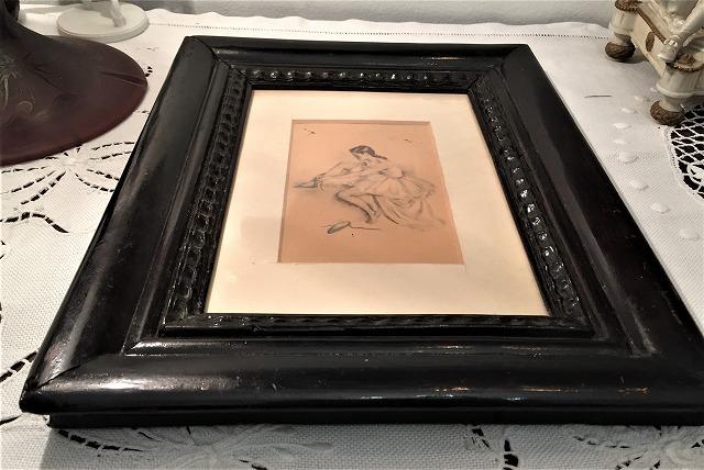 リトグラフ「バレリーナ」入り木製黒額957_f0112550_06461041.jpg